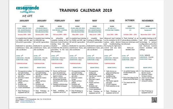 Training Courses Casagrande / Hutte Equipment  - 2019